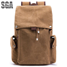 Casual Roll Top Backpack Unisex Computers Laptop Canvas Vintage Backpack