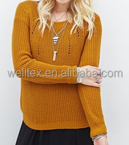 Women's raglan sleeve hollow texture sweater