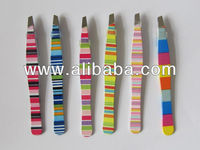 slant eyebrow tweezers with strip printing