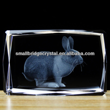 3d laser engraving crystal cube with rabbit animal