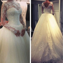 2017 New Style Chinese Wedding Dress High Neck Lace Applique Bridal Gown with Long Sleeve kimjowd003