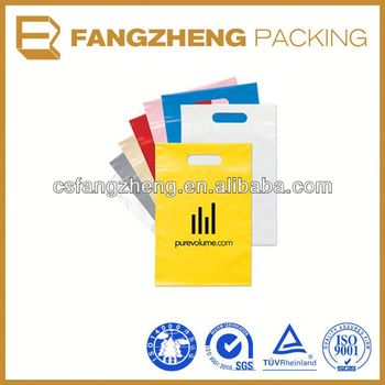 Plastic bag/ldpe ziplock bag with recycle logo/Die Cut Handle bag