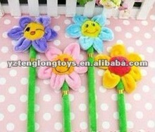 lovely and cheap kids plush sun flower ballpoint pen