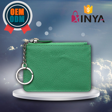 Green Handy pouch for men women zipper keyring wallet leather card holder