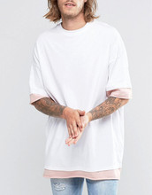 wholesale custom colors cheap item Contrast Sleeves drop shoulder longline oversized plain white tshirt