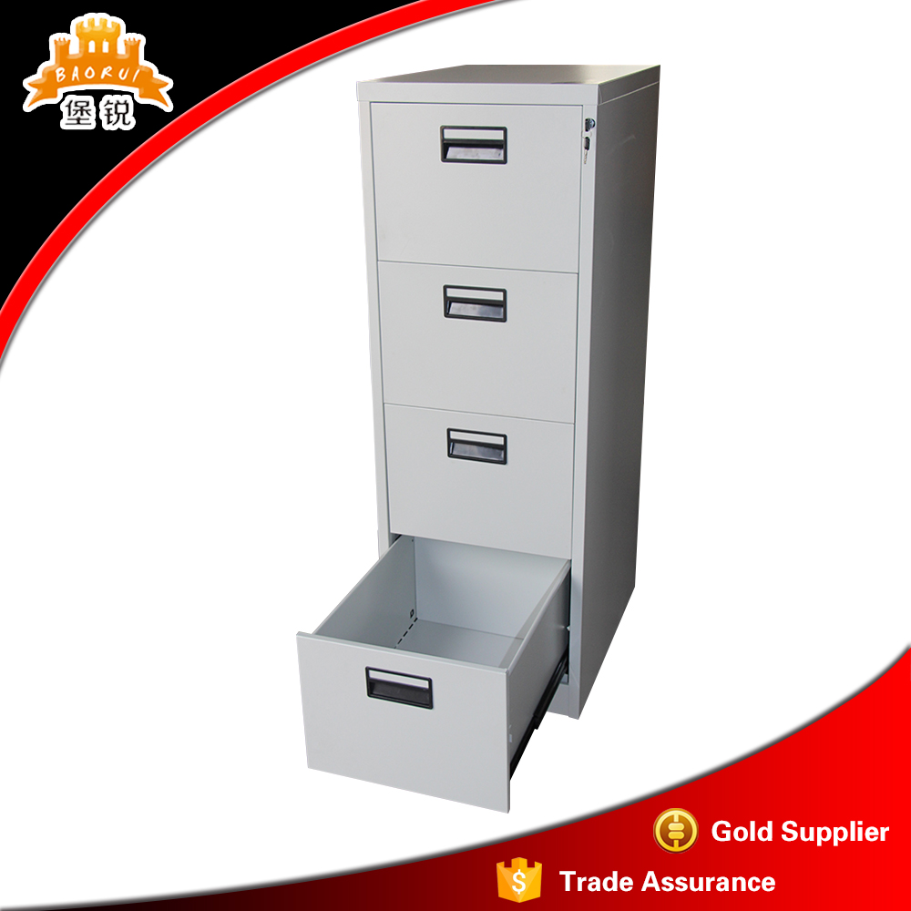 Vertical 4 Drawers Narrow A4 Paper Storage Metal Cabinet