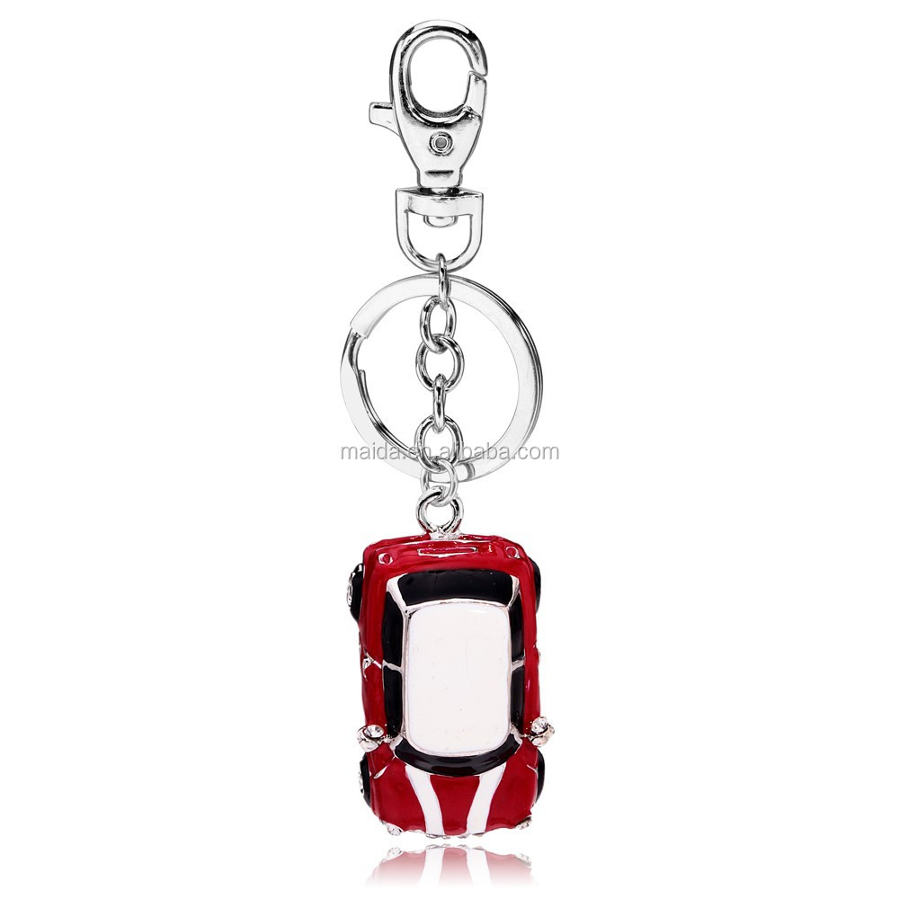 Fancy metal custom car keychain ,red enamel mini car keyring