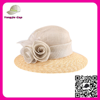 Elegant church Weeding hats and caps Customized popular ladies wide brim sinamay straw hats