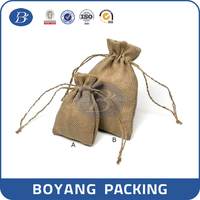 Recyclable Nature Fashion Christmas drawstring jute gifts bags