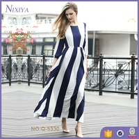 New Style Strip Beach Holiday Long Sleeve Dress For Women