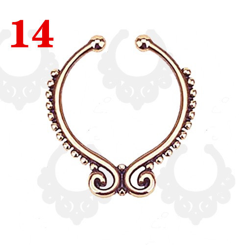 Rose gold 2016 new clicker fake nose ring fake septum Piercing clip non Hoop faux Body Jewelry black For Women + cheap