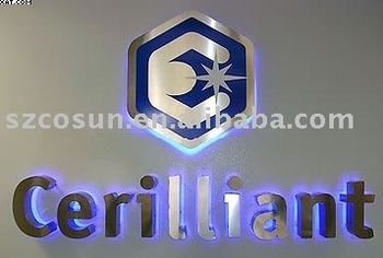 Polished stainless steel advertising backlit/halo sign letter