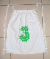 white drawstring shopping bag custom wholesale cotton ham bag--design Green 3