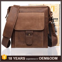 China Supplier Vintage Crazy Horse Leather Sling Bag for Man Wholesale