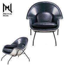 Mettal Man Personalized Design Navy Blue Leather Home Chaise Living Room Lounge Chair