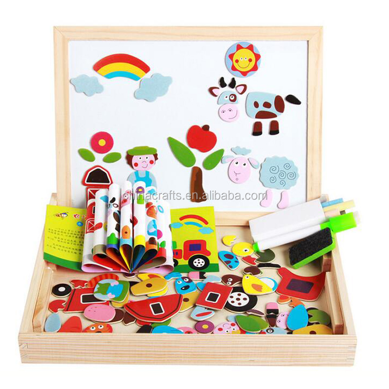 OEM Wooden education toys for kids wooden magnetic block puzzle wooden toy