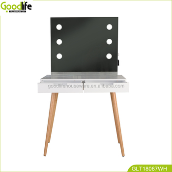 makeup vanity table set with mirror and lights