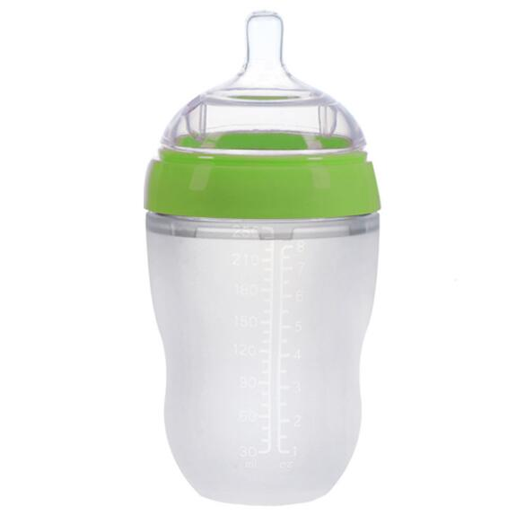 Professional silicone baby feeding bottle with custom logo with handle
