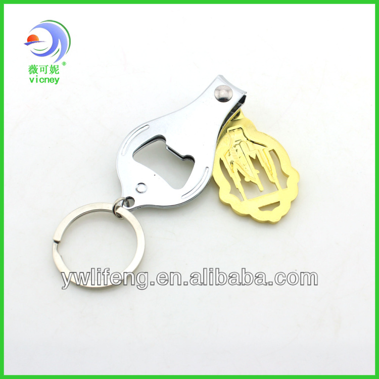dubai souvenir nail clipper metal keychain with bottle opener function /fashion cheap nail clipper