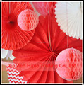Tissue paper honeycomb Hanging lanterns and Fans Wedding party decoration