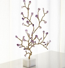 Chinese Style Luxury High-End Furniture Decor Amethyst Buds And Marble Base Figurines For Home Hotel