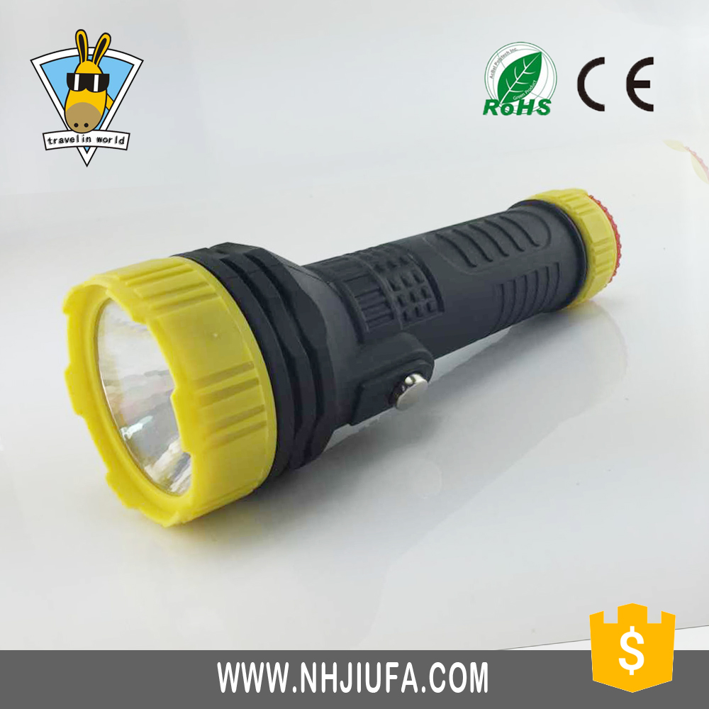 JF Cheap led plastic flashlight, dry battery powered plastic torch, plastic flashlight torch