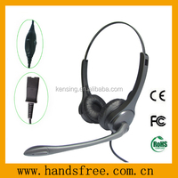 Binaural design call center headset with QD connector and noise cancelling microphone for high traffic call center