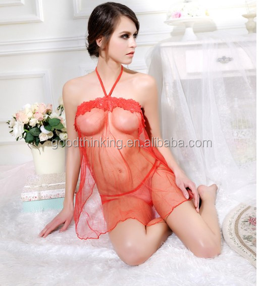 Polyester Fashion Sleep wear Transparent Mature Woman Sexy Lingeries