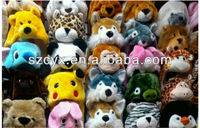 Plush animal head hat animal hats with gloves