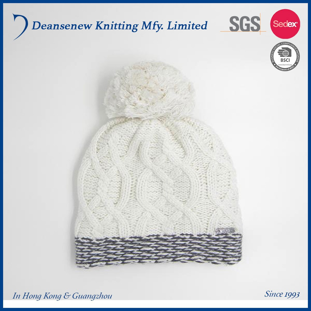 New 40% Viscose/40% Cotton/20% Nylon Thick Warm Winter Adult Female Women Teen Girl White Knit Pom Pom Double Layer Beanie Hat