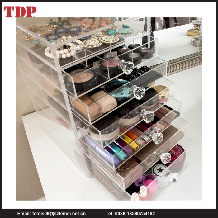 Deluxe Diamond Handle Clear Acrylic Makeup Organizer with 7 Drawers