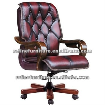 Deluxe Vintage Leather Antique Swivel Wood Office Chair With Casters Rf B009