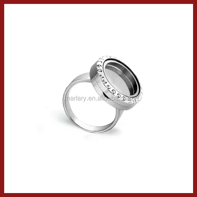 2016 New Fashion 316L Stainless Steel Memory Living Floating Locket Ring for Men