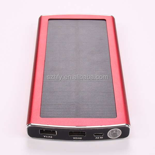 full capacity 10000mah slim dual usb portable aluminium solar power bank charger 10000