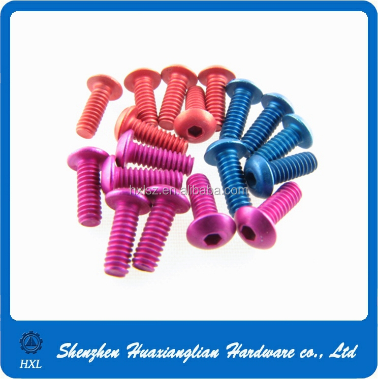 Different colors hex socket button head and flat head aluminum screw m2 m3