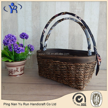 2016 Factory Direct Sale Oval Woven Woodchip Seagrass Flower Basket