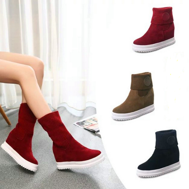 SAA2090 Women boot shoe autumn winter fashion hidden heel ladies half boots wholesale