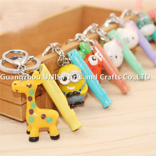 best price high quality cute cartoon design whistle key holder /cartoon animal whistle key chain key ring