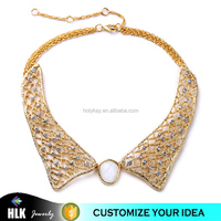 Women New Fashion Elegant Hollow net Collar shaped fake gold Chunky novelty Statement crystal necklace for 2015 jewelry
