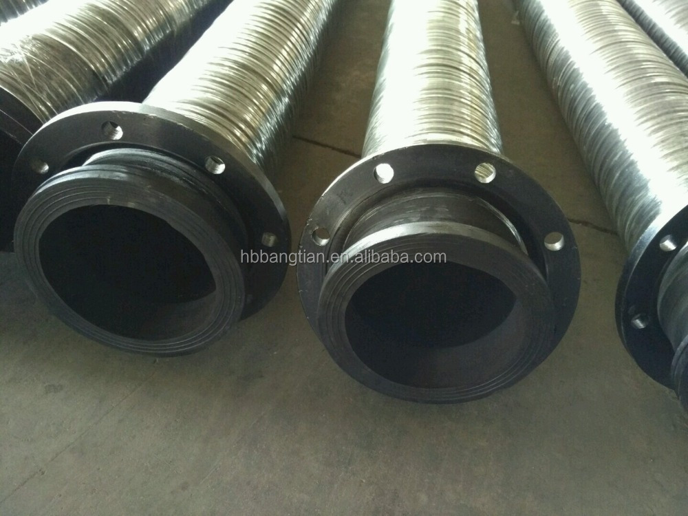 Water suction and discharging rubber hose dredging pipe