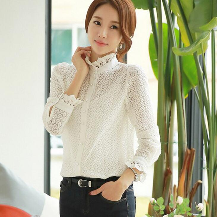 D96183t 2016 spring women blouse stand collar checked long sleeve blouse for ladies lace shirt