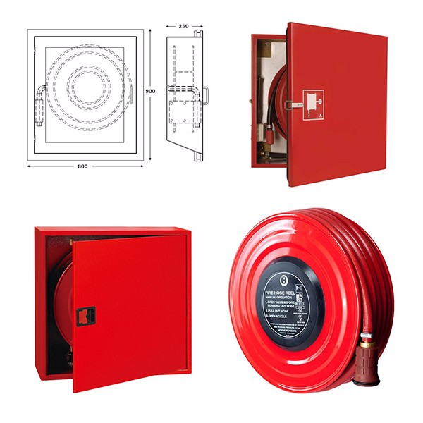 Hire quality red hose reel fire fighting cabinet for sale