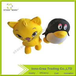 Decoractive Animal Shape Yellow Cat and QQ Penguin Soft Plush Throw Pillow