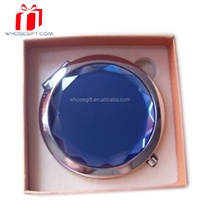 Fashion Blue Lucid Cosmetic Mirror China Manufacturer Mini Wholesale Cheap Beauty Crystal Makeup Mirror