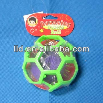 Plastic bouncing puzzle ball