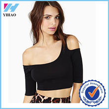 2015 Yihao Latest Fashion Blouse Design Cotton Pure Color Sarees Blouse 3/4 Sleeve boob tube Off-Shoulder Boat Neck Top T-shirt