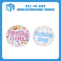 the Birthday party themes metal pin plastic badges