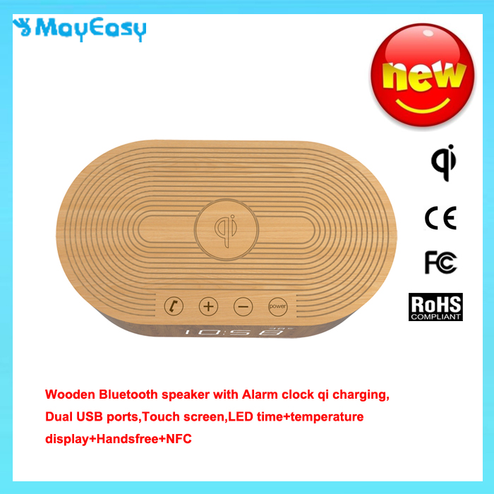 New Design 2016 Hot Selling Unique wooden bluetooth speaker with alarm clock Mobile Phone QI Wireless Charger