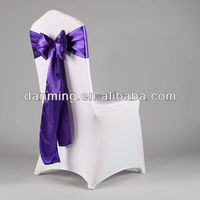 "Wholesale 6.5""108"" Dark Purple Orange Satin Chair Sash For Wedding And Banquet"
