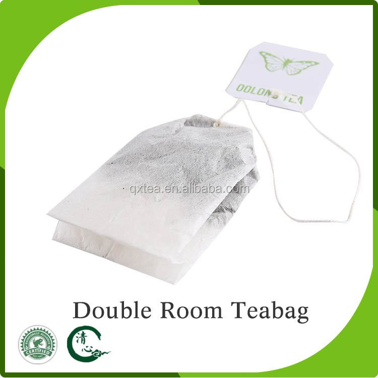 Empty double room filter paper tea bags for with string and tag